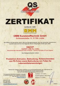 Zertifikat HACCP – OMM Kunststofftechnik