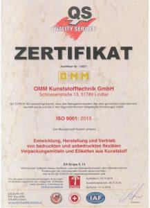 ISO 9001 – OMM Kunststofftechnik