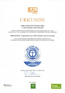 Zertifikat Blauer Engel – OMM Kunststofftechnik